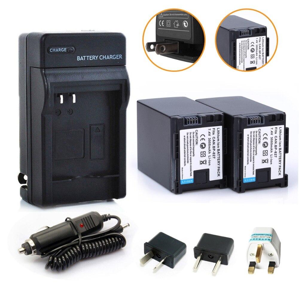 Prix pour [ Hi-bty ] 2 Pcs BP - BP 827 Rechargeable li - ion batterie + chargeur de voiture + adaptateur enfichable pour Canon HF20 HF21 HF S11 HF S10 HF11