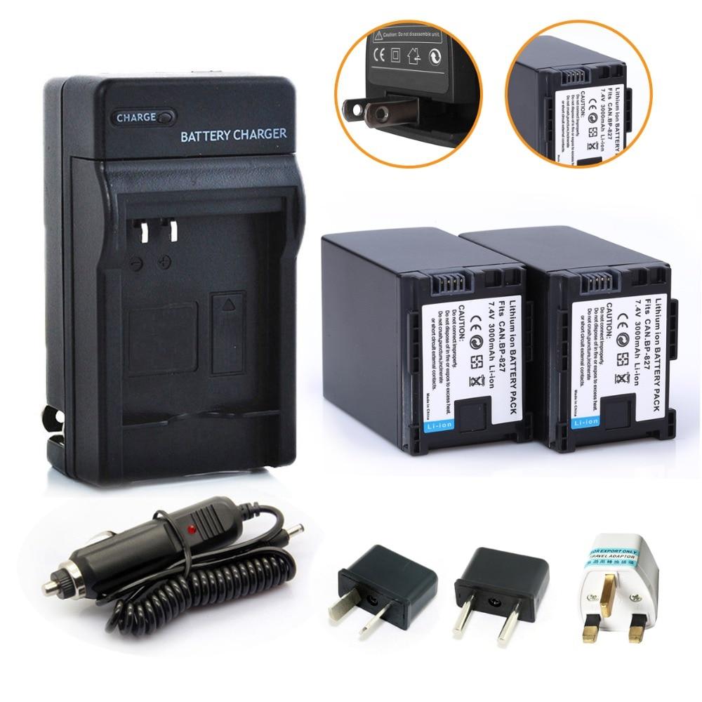 Probty 2Pcs BP-827 BP 827 Battery + Car Charger +Plug Adapter for Canon HF10 HF11 HF100 HF20 HF200 HF S10 S11 S100 S20 S21 S200