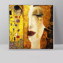 RELIABLI ART Kiss And Tears By Gustav Klimt Canvas Paintings Portrait Wall Art Pictures for Living Room Cuadros Decoration