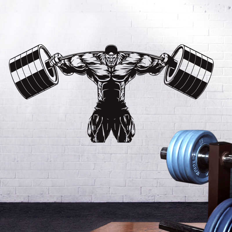 Dctal Car Gym Sticker Fitness Decal Bodybuilding Dumbbell Posters Name Muscle Vinyl Wall Parede Decor Gym Sticker