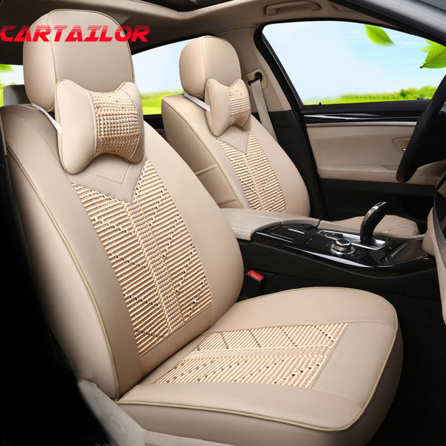CARTAILOR Car Seat Cover Set For Toyota Corolla 2014 2016 2017 Leather Ice Silk Seats