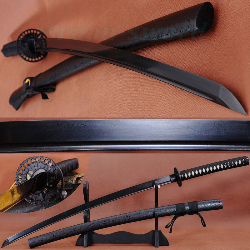 "41 ""HANDMADE JAPANESE SAMURAI BLACK FOLDED STEEL SWORD KATANA IRON TSUBA SHARP"