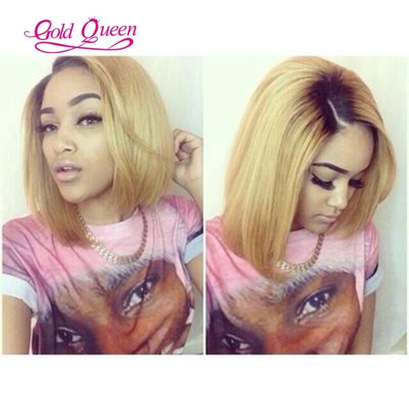 2inch Dark Roots Brazilian Honey Blonde Ombre Bob Wig 1b