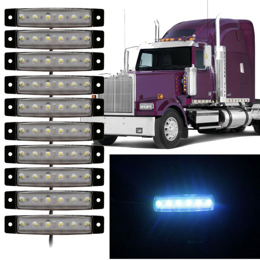 New Arrival 10pcs 6 LED Truck Lorries Bus Clearance Side Marker Indicators Light Lamp Amber White Truck Light cyan soil bay 10pcs 3led amber waterproof side marker lights clearance lamp trailer truck bus car 3 led 12v 24v
