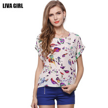 2017 Summer Women Chiffon T-Shirt Tops Cute Bird/Dot/Stars Print Short Sleeve Casual T shirts Tops for women girls Plus size