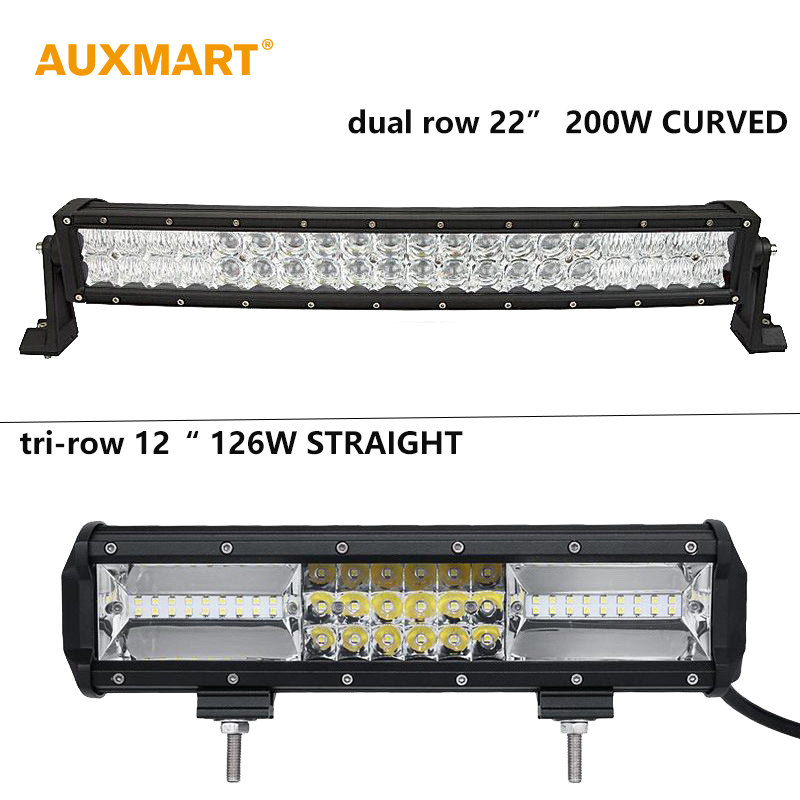 Auxmart Cree Chips dual triple row LED font b Light b font Bar 22 12 offroad