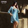 Roupões De Seda Sleepwear Feminino Bordado Longo-Sleeved XIFENNI Rendas Twinset Nightgowns Mulheres Imitação de Seda Sets Robe 2024