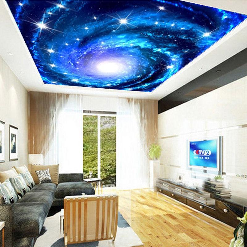 Custom 3D Foto Behang Galaxy Ster Plafond Fresco Muur Schilderkunst ...