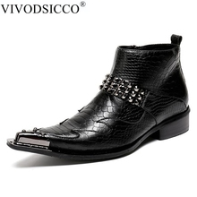 VIVODSICCO NEW Ankle Genuine Leather Black Snake Skin Men Shoes Luxury Cowboy Chelsea Mens Western Motorcycle Boots Dress Shoes