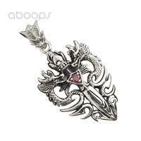 Punk Black 925 Sterling Silver Double Dragon Angel and Demon Sword Necklace Pendant for Men Free Shipping