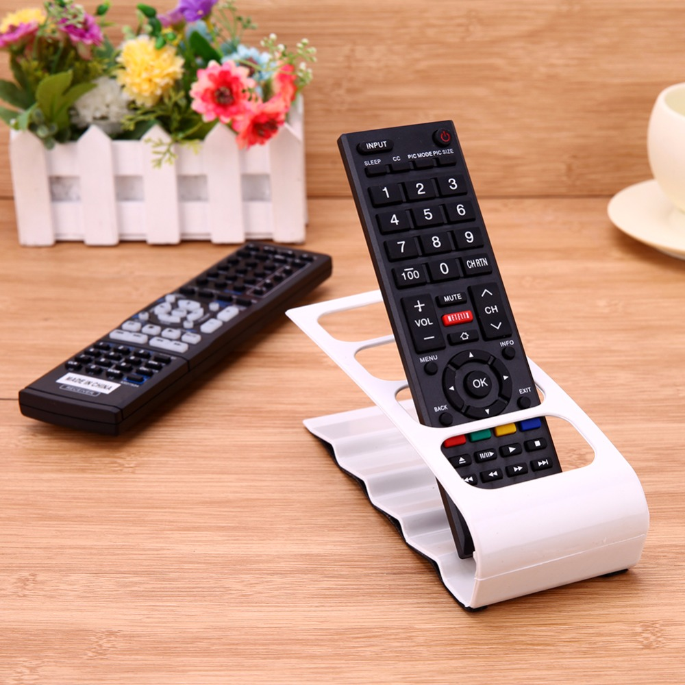 4 Cell Plastic TV DVD Remote Control Organizer Phone Holder Storage Stand Mobile Phone Holder Stand Stationery Organizer