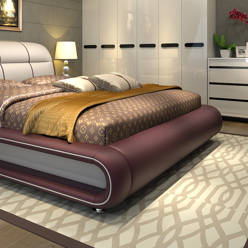 קנו ריהוט ביתי Modern Bedroom Furniture Bed With Genuine Leather M01