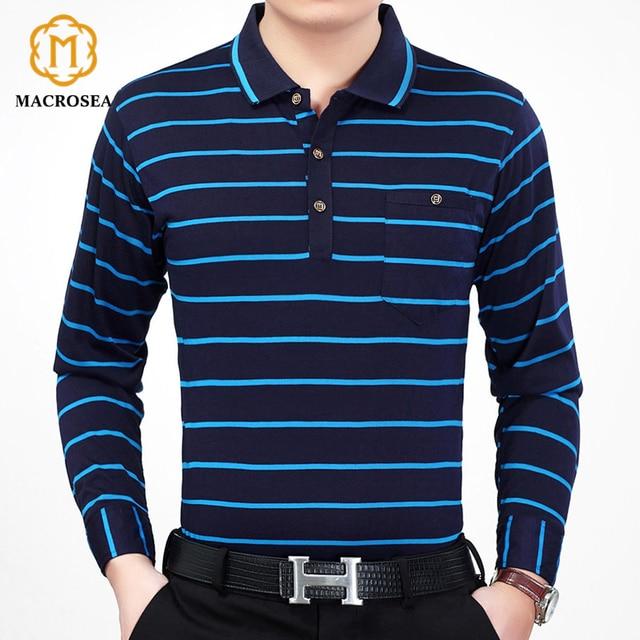 40d92e3ca MACROSEA Men's Long Sleeve Polo Shirt Spring&Autumn Classic Design Contrast Color  Men's Striped Polo Shirt Ralp Men Camisa