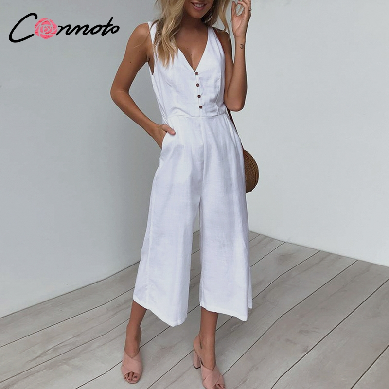 Conmoto 2019 Summer Solid White Tank Shoulder Women   Jumpsuits   Rompers Wide Leg Casual Button Long   Jumpsuits   Beach Rompers