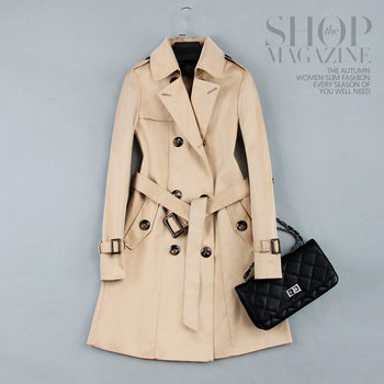 2019 Spring Autumn New Women Classic Double Breasted Mid-long Trench Coat Female Slim Street Windbreaker Business Outerwear N794