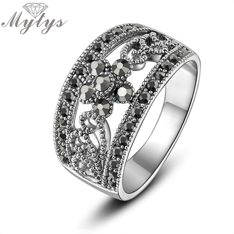 Mytys Classic Hollow Lace Invisible Setting Marcasite Vintage Ring for Women Antique Retro Style Fashion jewelry Gift R1029