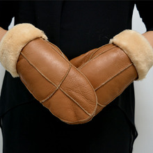 2016 High Quality Lady Winter Gloves Women Mitten Gloves Sheepskin Fur Warm Winter Woman Gloves