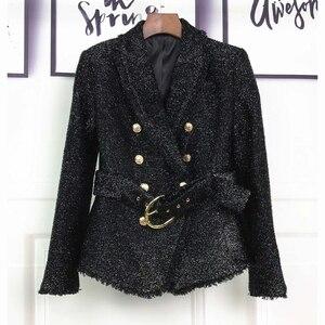 Image 2 - HOHE QUALITÄT Neue Mode 2020 Herbst Winter Designer Blazer Jacke frauen Silber Glitter Schnürung Gürtel Blazer Mantel