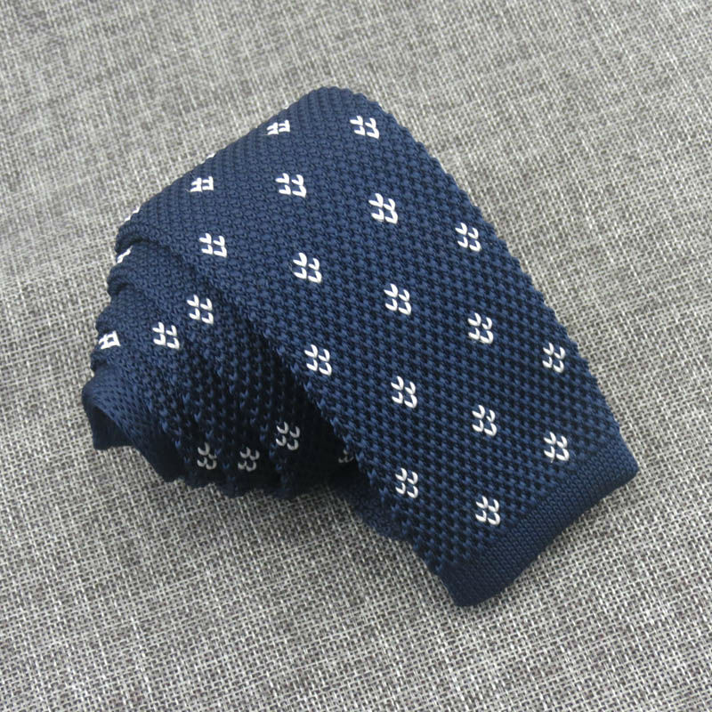 Navy Blue Knitted Ties For Men Knite Tie Narrow Skinny Necktie For Men Suit Shirt Dresss Accessories Gravatas Slim Cravate
