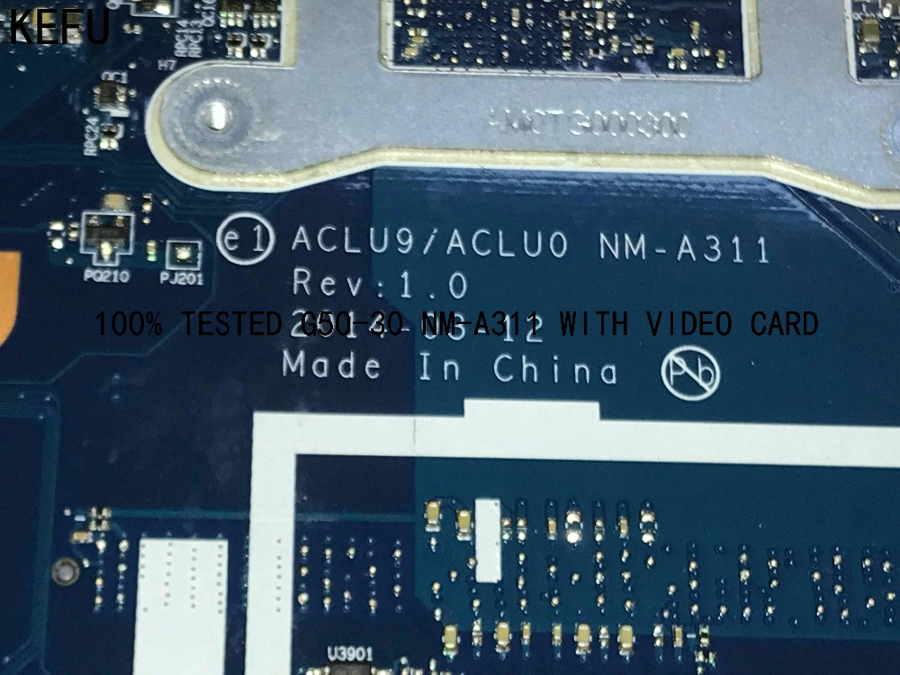 KEFU 100% TESTED , ACLU9/ ACLU0 <font><b>NM</b></font>-<font><b>A311</b></font> Laptop motherboard for Lenovo G50-30 MAINBOARD ONBOARD N2840 CPU GT820M(NEW ITEM) image
