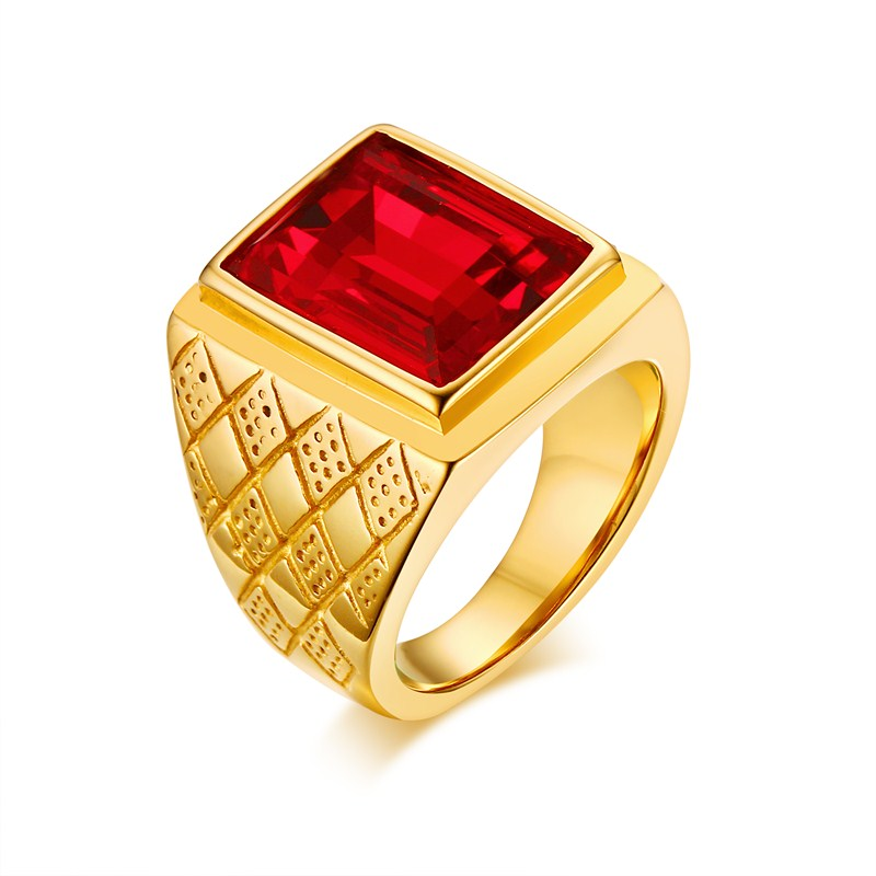 Men Rings Gold Color Square Cut Red CZ Rhinestone Ring