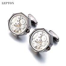 Lepton Functional Watch Movement Cufflinks With Glass Hot Sale Stainless Steel Steampunk Gear Watch Mechanism Cufflinks for Mens