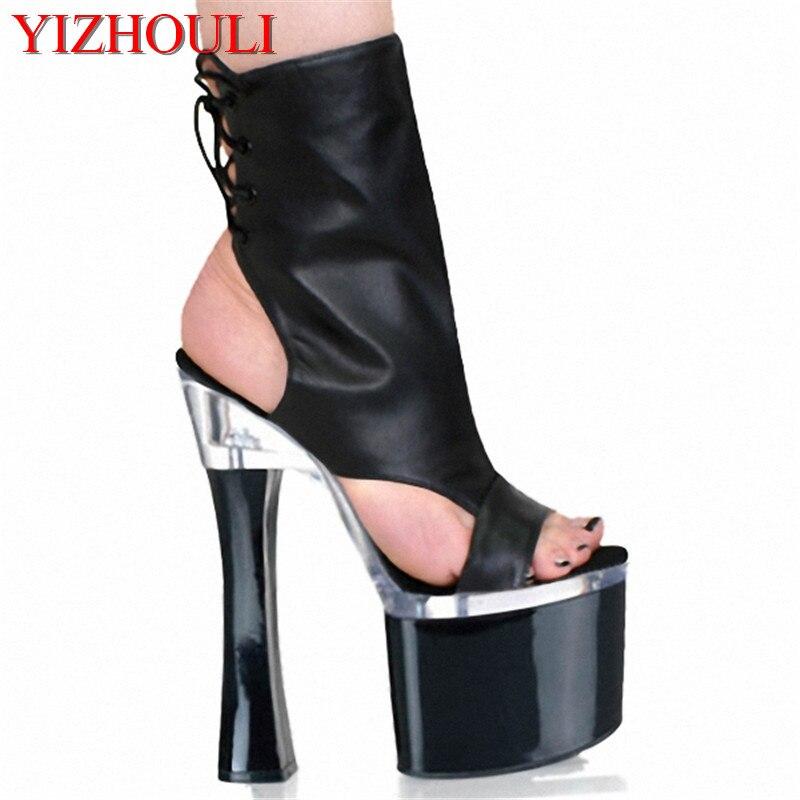 Negro De sexy Tacón Alto Señoras Grueso Cm Partido Mujeres Zapatos Toe Inferior Venta Plataforma Moda Zapatos Del Peep Botas Las tobillo 18 p68Aw