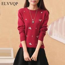 В Корейском стиле с цветочным принтом, свитер с вышивкой Повседневное с длинным рукавом вязаный женский свитер кардиган, пальто, Casaco Feminino пуловер Для женщин s Топы NW4