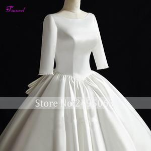 Image 3 - Fsuzwel Gorgeous Chapel Train Satin Backless A Line Wedding Dress 2020 Luxury Scoop Neck Beaded Half Sleeve Princess Bridal Gown