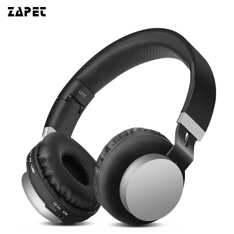 ZAPET Stereo Wireless Bluetooth Headphone Foldable Outdoor Sport Headsets with AUX Cable 3.5mm Wired Headset with mic for phone economic set original nia q1 8 gb micro sd card a set bluetooth headphone wireless sport headsets foldable bluetooth earphone