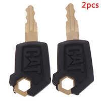 2PCS Key For Caterpillar 5P8500 Heavy Equipment Ignition Loader Dozer Metal & Plastic Black & Gold