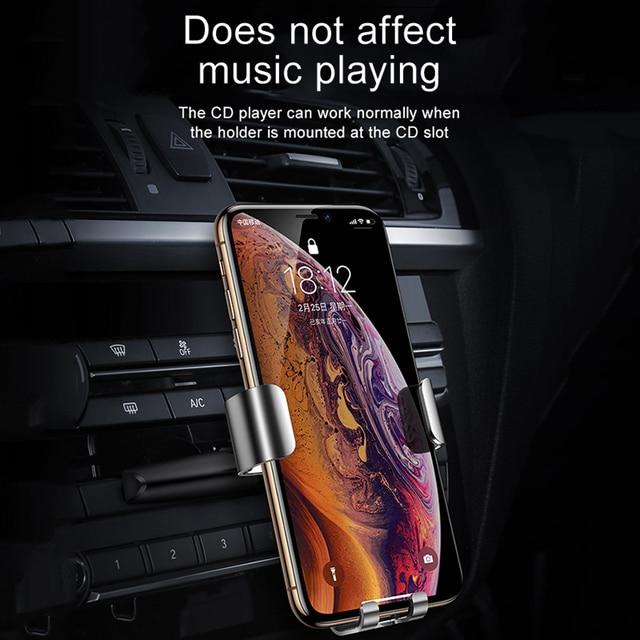 Baseus Car Phone Holder for Car Air Vent / CD Slot Mount Phone Holder Stand for iPhone Samsung Metal Gravity Mobile Phone Holder 3