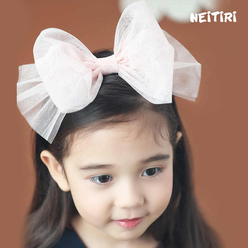 Golden Dots Lovely Big Bow Hairbands For Girls  Shiny Princess High Quality Hair Accessories Chiffon Colorful Headband