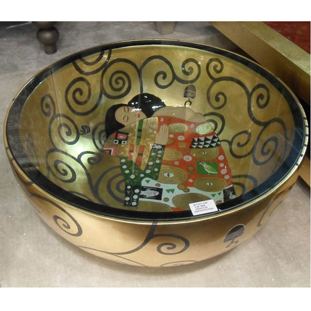 Club Hotel Pachira Cornucopia Of Creative Gold Painted Rice Bowl Round Glass Coffee Table Living Room