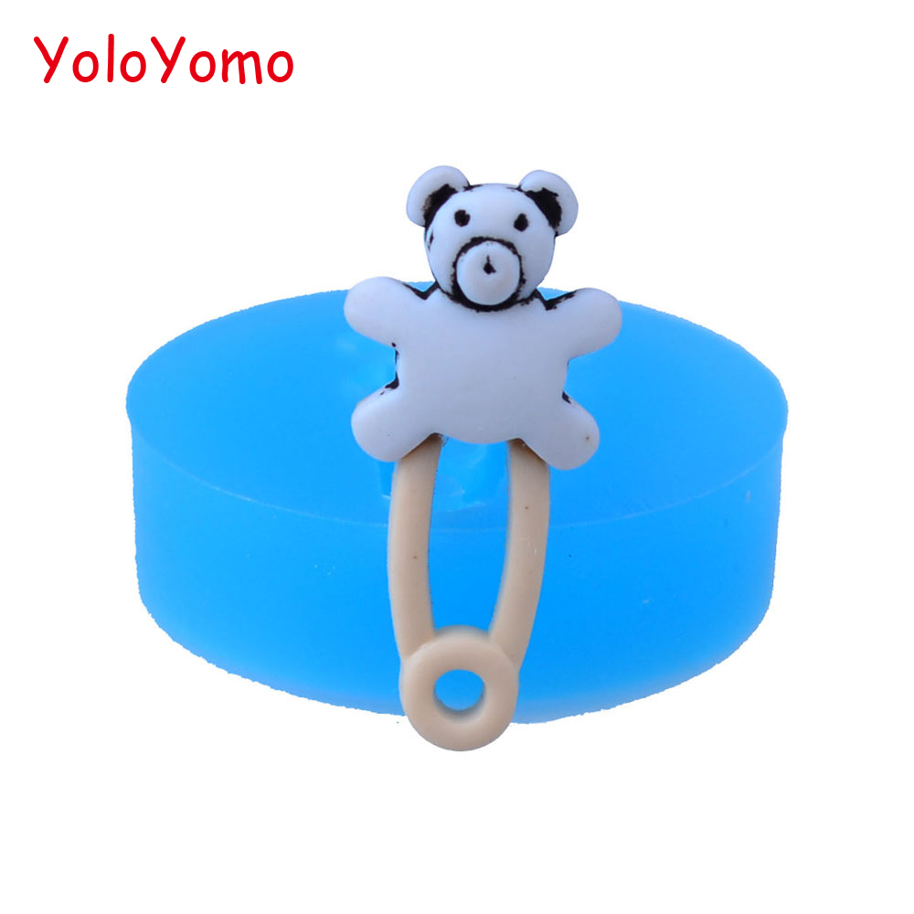 F449YL 25.8mm Bear Pin Silicone Mold - for Baby Shower, Cake Decoration, Fondant, Chocolate, Scrapbooking, Resin Clay, Candy Wax