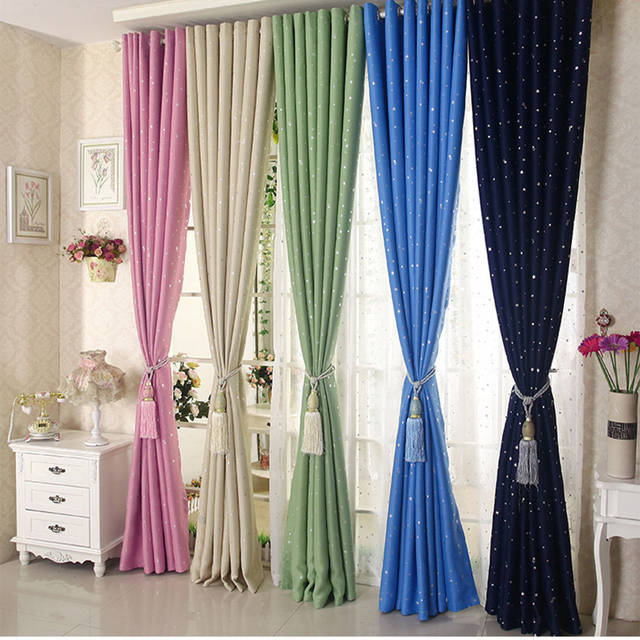 Shining Stars Decorative Blackout Cortinas Children Cloth Curtain For Kids  Boy Girl Bedroom Living Room Window