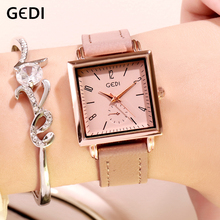 eef6a1e413a Mulheres Marca de Luxo GEDI Relógios Senhoras Pulseira de Couro Relógio de  Pulso Relógio de Quartzo