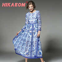 2018 Early Spring Runway Dresses Fashion New Blue And White Porcelain Print Dress China Style O Neck Pleated Long Boho Dresses