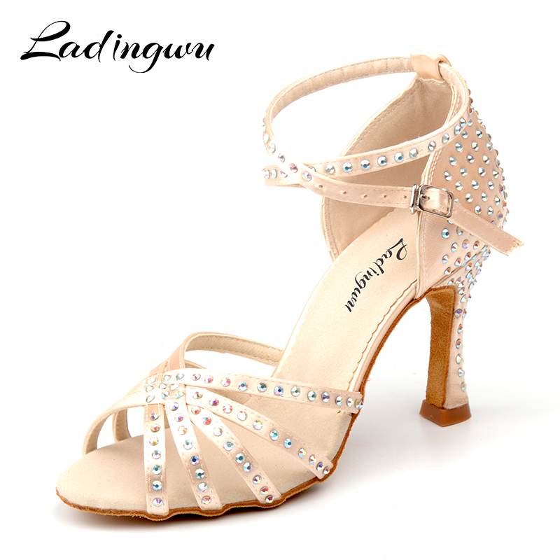 Ladingwu New Satin Latin Dance Shoes Women Salsa Rhinestone Shoes Dance For Woman Ballroom Dancing Shoes Beige Apricot Brown rhinestone dance shoes pink ballroom dance sandals for girls salsa dance shoes woman latin dance shoes ladies satin customized