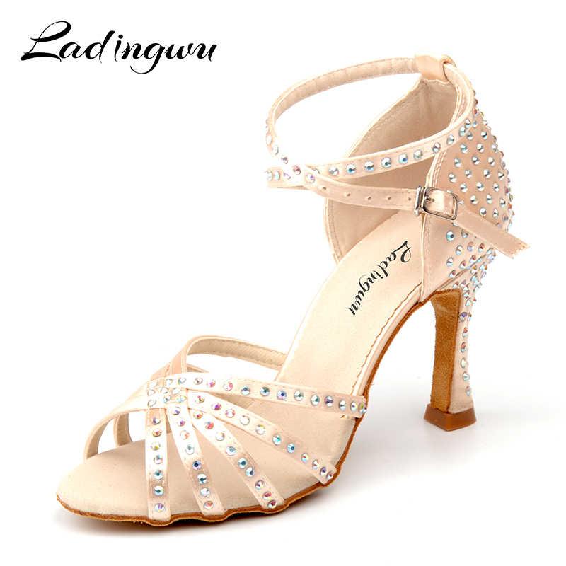 ad5ff100b Ladingwu New Satin Latin Dance Shoes Women Salsa Rhinestone Shoes Dance For Woman  Ballroom Dancing Shoes