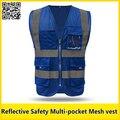 Colete de segurança colete refletivo malha multi-bolso com faixas reflexivas roupas de malha colete de segurança rodoviária frete grátis