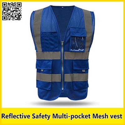 Reflective mesh vest multi-pocket safety vest with reflective stripes mesh  vest road safety clothing free shipping