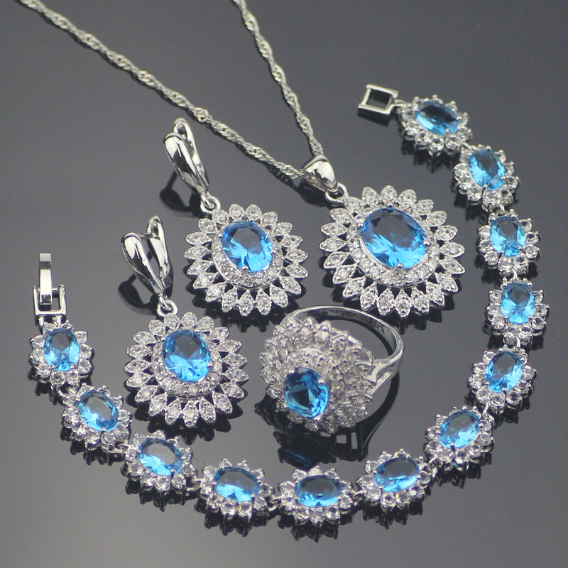 925 Silver Costume Jewelry Sets Women Wedding Earrings With Stones Blue Zircon Pendant&Necklace Rings Bracelets Set Gift Box natural stones silver 925 wedding jewelry sets white zircon pendant necklace for women bracelets earrings rings set gift box