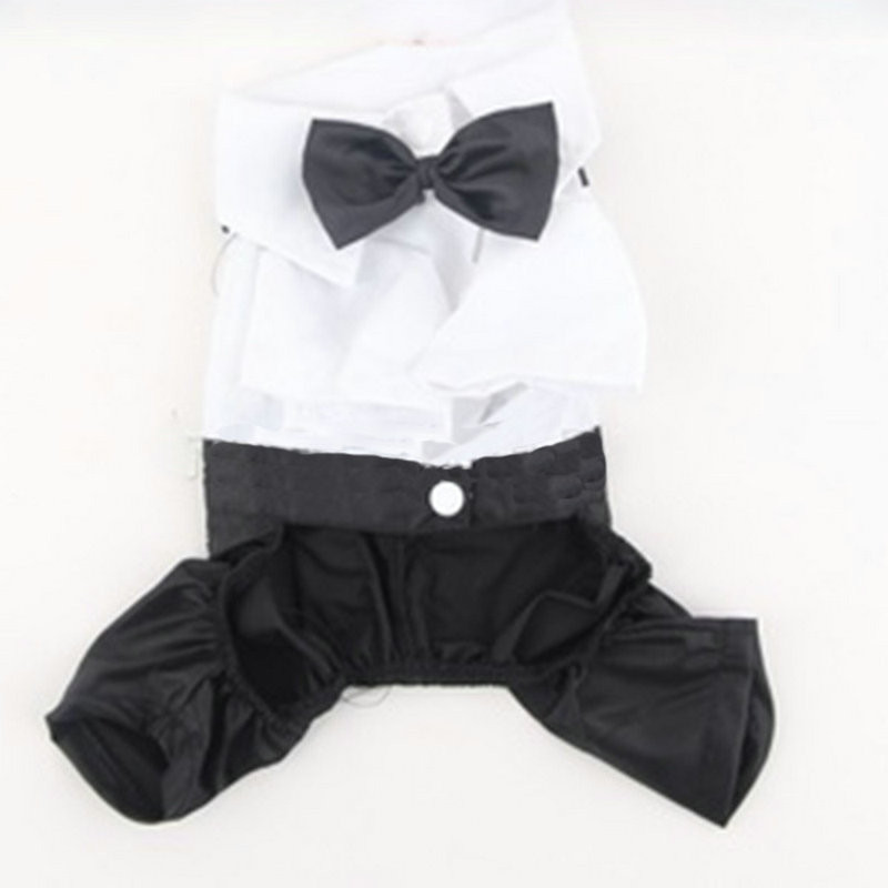 Pet Dog Cat Four Leg Pants Tuxedo Gentlemans Clothing Prince Cute Bow Tie Suit Puppy Costume Jumpsuit Coat