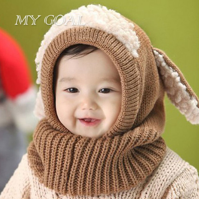 01076d71a3d Baby Rabbit Ears Knitted Hat Cute Infant Toddler Winter Cap Beanie Warm Hat  Hooded Scarf Earflap Knitted Hat