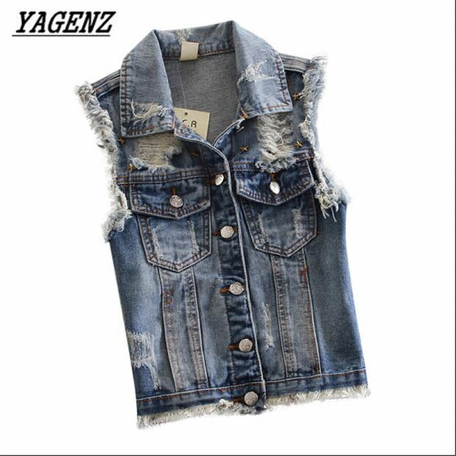 YAGENZ Spring New Lady Cowboy Vest 2017 Fashion Student Sleeveless Vest Slim Leisure Street Wind vest Rivets Short Jacket A101
