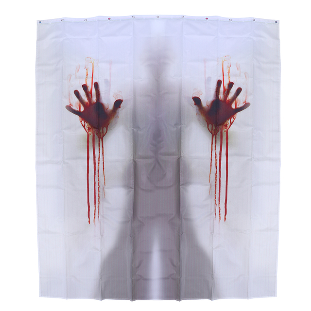 1pcs Bathroom Curtain Handprints Halloween Bloody Creepy Shower Screen For Hotel Bar House Decor