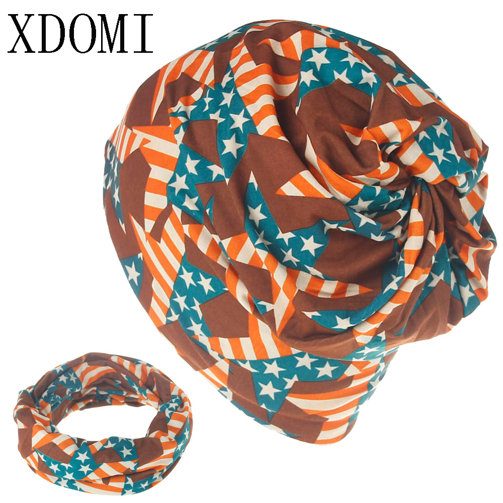 XDOMI Women Skullies Beanies Knitting Caps Double Layer Thin Cotton Printing Letter Scarf Hat Winter Hats for Women/Men 3 Use