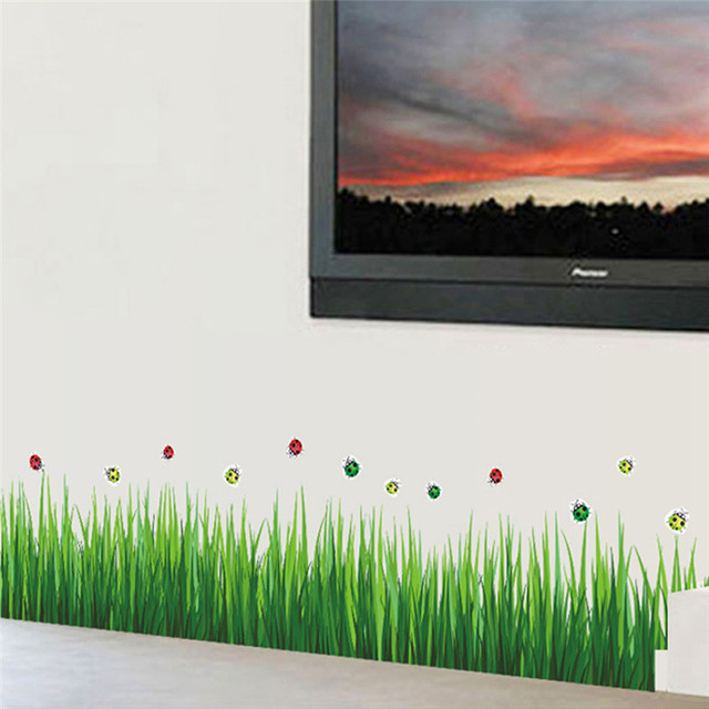 green grass ladybug diy removable art 768 vinyl wall stickers decor
