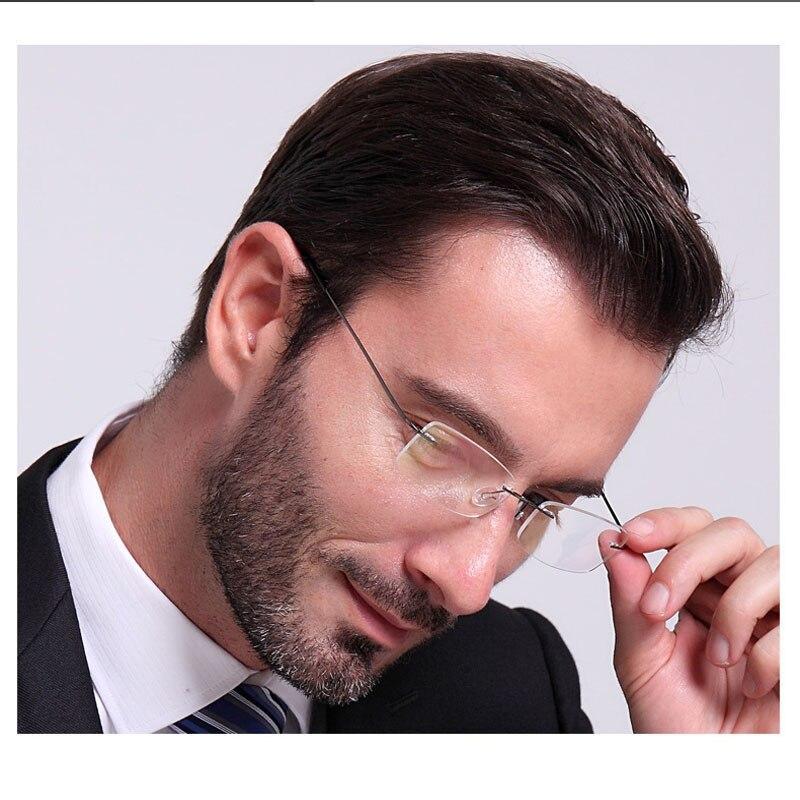 Top Grade Ultra Luz Titânio Sem Moldura Óculos de Leitura Hipermetropia Óculos Dos Homens de Negócios + 1.0 1.5 2.0 2.5 3.0 3.5